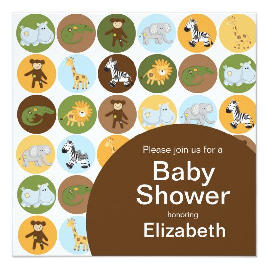 Jungle Safari Animal Neutral Baby Shower Card