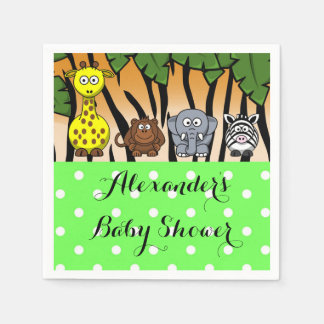 Jungle safari animal neutral baby shower paper serviettes