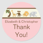 Jungle Safari Animal Pink Girl Baby Shower Sticker