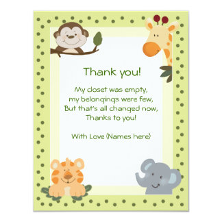 Jungle Safari Animals Baby Shower Thank you notes Card