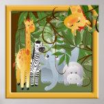 Jungle Safari Animals Kids Room Poster Print