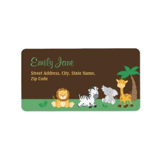 Jungle Safari Baby Shower Address Label
