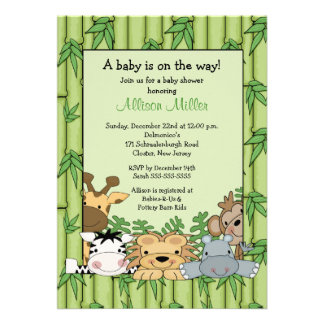 Jungle Safari Baby Shower Personalized Announcement