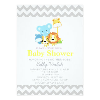 "Jungle Safari Baby Shower Invitations Chevron 5.5"" X 7.5"" Invitation Card"