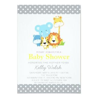 Jungle Safari Baby Shower Invitations Yellow Grey