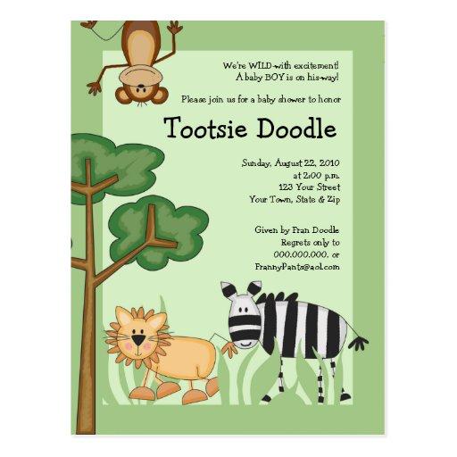 Jungle Safari Baby Shower Post Card Invitation