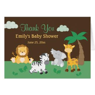Jungle Safari Boy Baby Shower Thank You Card