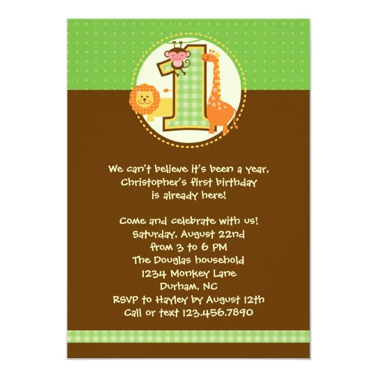 Jungle Safari First Birthday Invitation