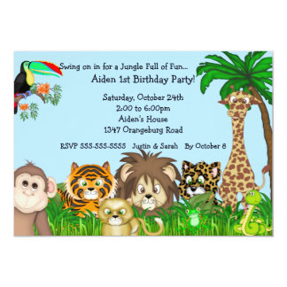 Jungle Safari Fun Birthay Party 13 Cm X 18 Cm Invitation Card