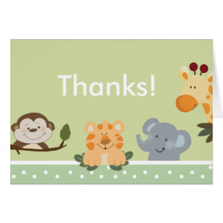 JUNGLE SAFARI GREEN  Folded Thank you note Card