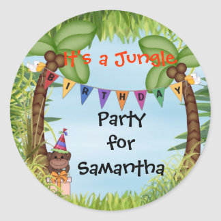 Jungle Safari Monkey Birthday Sticker