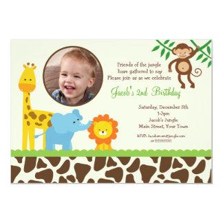 """Jungle Safari Photo Birthday Invitation 5"""" X 7"""" Invitation Card"""