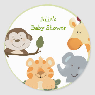 JUNGLE SAFARI Round Favor Stickers