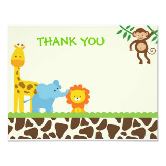 Jungle Safari Thank You Notes cards 11 Cm X 14 Cm Invitation Card