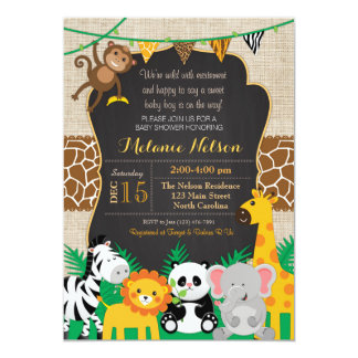 Jungle Safari Wild Baby Shower Invitation