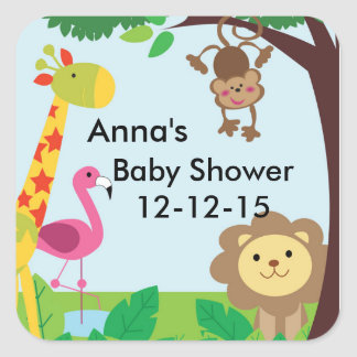 Jungle Safari zoo baby shower stickers