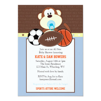 Jungle Sports Monkey Baby Shower Invitation