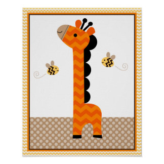 Jungle Stack Giraffe Baby Nursery Art/Poster Poster