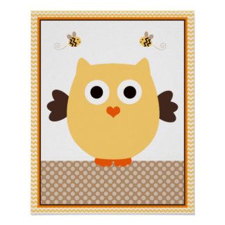 Jungle Stack Owl Baby Nursery Art Poster
