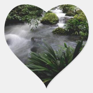 Jungle Stream River Landscape Amazon Heart Stickers
