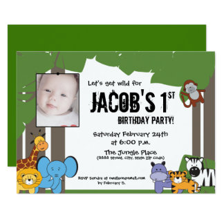 Jungle Theme Birthday, Personalised with Photo Card