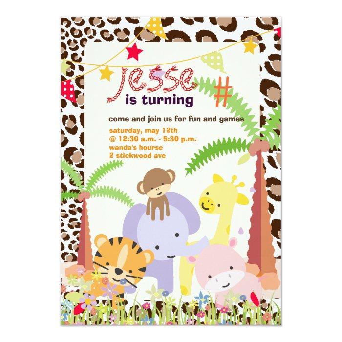 Jungle Theme/Personalised Party/photo 13 Cm X 18 Cm Invitation Card