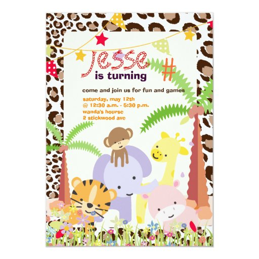 Jungle Theme/Personalised Party/photo Invite