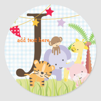 Jungle Theme stickers/add monogram Classic Round Sticker