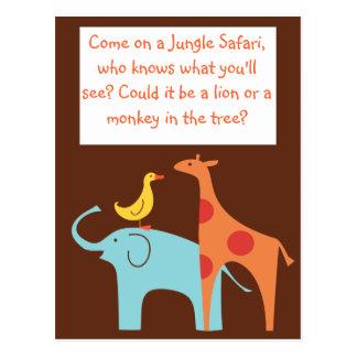 Jungle Themed Custom Baby Shower Invitation Postcard