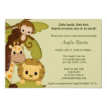 Jungle Time Animals Baby Shower Invitation JTN-L 13 Cm X 18 Cm Invitation Card