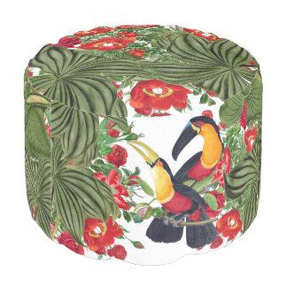 Jungle Toucan Birds Wildlife Flowers Pouf Seat