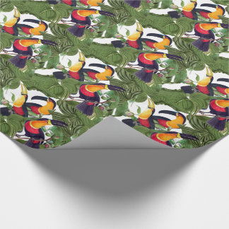 Jungle Toucan Birds Wildlife Leaves Wrapping Paper