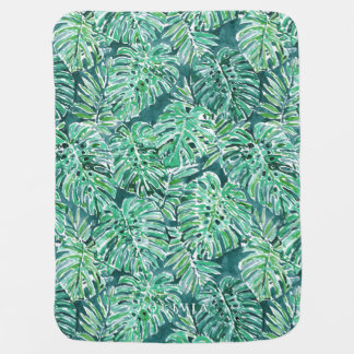 JUNGLE VIBES Green Tropical Monstera Pattern Baby Blanket