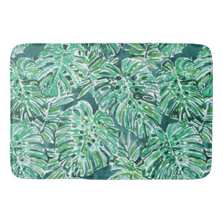 JUNGLE VIBES Green Tropical Monstera Pattern Bath Mat