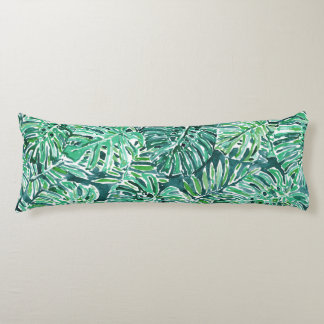 JUNGLE VIBES Green Tropical Monstera Pattern Body Cushion