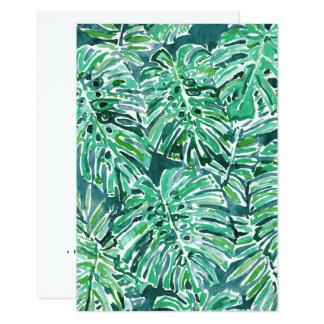 JUNGLE VIBES Green Tropical Monstera Pattern Card