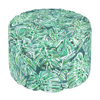 JUNGLE VIBES Green Tropical Monstera Pattern Pouf