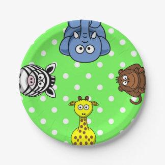 Jungle wild animal green polka dot baby 7 inch paper plate