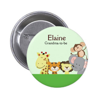 JUNGLE ZOO PARTY NAME TAG Personalized Button