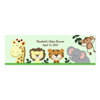 Jungle Zoo Party Shower / Birthday Favor Tag Pack Of Skinny Business Cards
