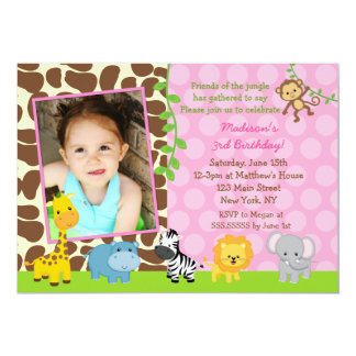 Jungle Zoo Safari Animals Birthday Invitations