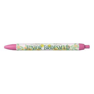 Junior Bridesmaid Floral Black Ink Pen