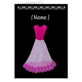 Junior Bridesmaid Pink & White Gown Flowered Trim Card