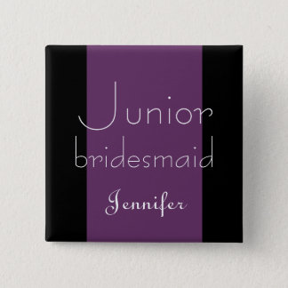 Junior Bridesmaid Purple Stripe Wedding Button