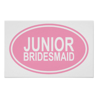 Junior Bridesmaid Wedding Oval Pink Poster