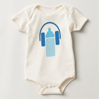 Junior DJ - Headphones and Bottle Icon Baby Bodysuit