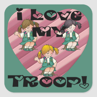 Junior I Love My Troop Heart Square Sticker
