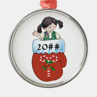 Junior Mitten Black Hair Metal Ornament