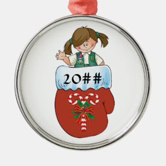 Junior Mitten Brunette Metal Ornament