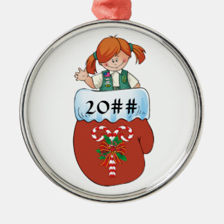 Junior Mitten Red Hair Metal Ornament